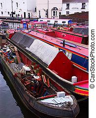 canal boats, birmingham, england
