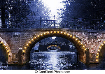 Canal bridge lights - Beautiful lights on the bridges over...