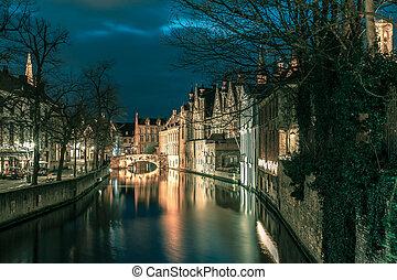 canal, bruges, verde, noturna, belfort, torre