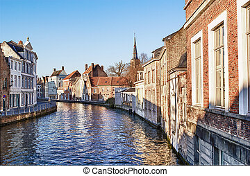Canal Bruges,belgium - Pretty canal scene with beautiful...