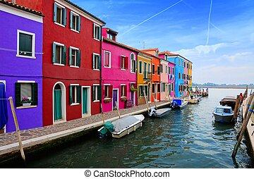 canal, burano, italie, coloré, venise, vibrant, maisons, île, long