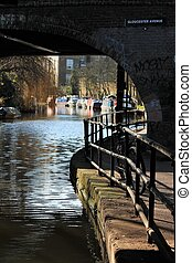 canal, canal, river-, regents, londres, barcaza