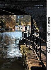 canal, canal, river-, regents, londres, péniche