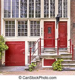 canal, casa, fachada, histórico, amsterdam