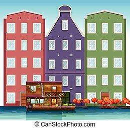 canal, casa, holandés, luego