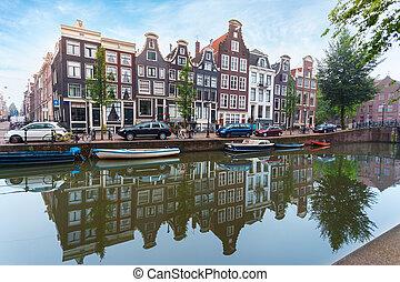 canal, casas, barcos, amsterdão