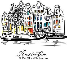 canal, casas, vetorial, holandês, amsterdão, típico