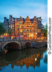 canal, ciudad, puente, noche, amsterdam, vista
