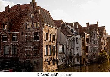 canal, ciudad, viejo, centro, luego, casas, bélgica, gante