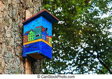 canal, colorido, casas, lado, birdhouse, vista