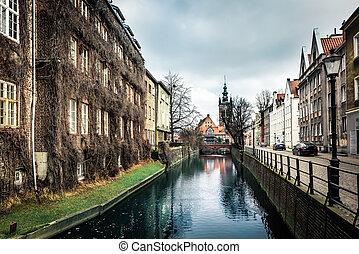 canal, e, antigas, edifícios históricos, gdansk