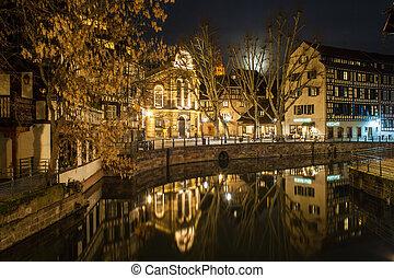 canal, em, petite, frança, área, strasbourg, alsácia, -, frança