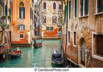 canal, en, venecia