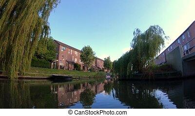 canal, ensoleillé, beau, jour, view;