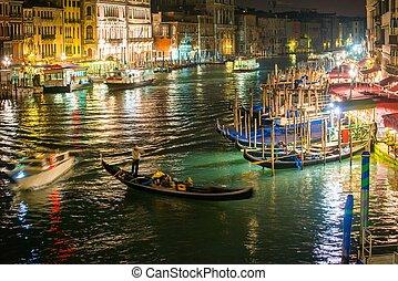 canal, góndolas, magnífico, noche