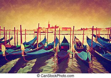 canal, góndolas, pintura, magnífico, vendimia, italy., ...