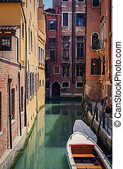 canal, góndolas, venecia