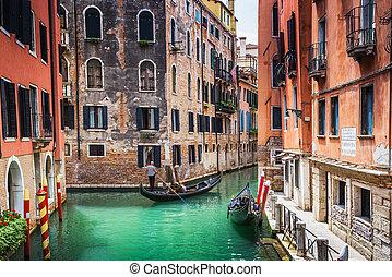 canal, góndolas, viaje, turistas