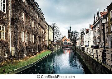canal,  Gdansk, edifícios, histórico, antigas
