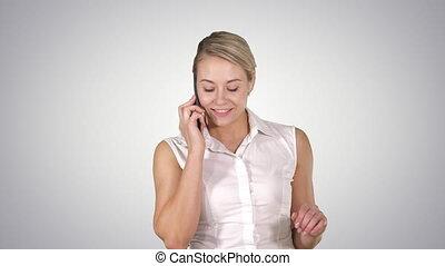 canal, gens, concept:, style de vie, téléphone, sourire, conversation, alpha, portrait affaires, femme