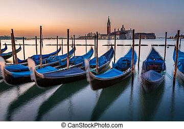 canal, giorgio, italia, san, venecia, magnífico, góndolas, ...