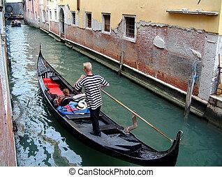 canal, gondole, venise
