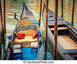 canal, gondoles, venise