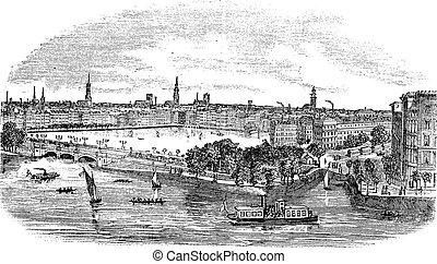 canal, grabado, alemania, edificios, hamburgo, vendimia