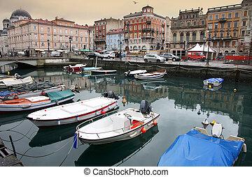 Trieste, Italia - Canal grande and Port in the city, Trieste...