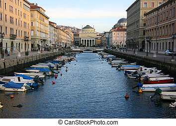 Canal grande in Trieste with Saint Anthony church