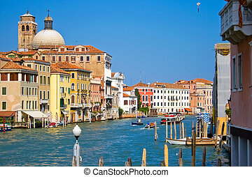 The Grand Canal (Venetian: Canalazzo) is the largest in Venice, Italy.