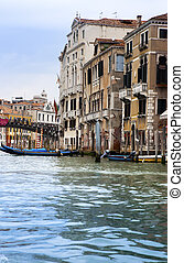Canal Grande with boats, Venice,