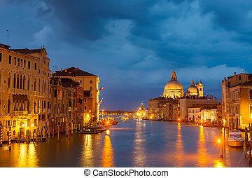 canal, grang, veneza, noturna