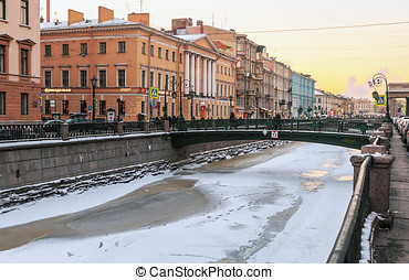 Canal Griboedov in Saint-Petersburg winter morning