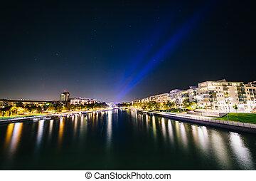 canal, helsinki, finland., ruoholahti, nuit