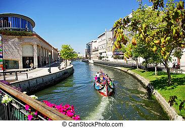 canal, hos, både, portugal.