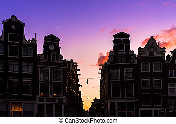 Canal houses silhouettes - Beautiful silhouettes of canal...