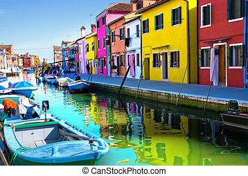 canal, ilha, burano, veneza