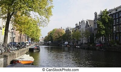 Canal in Amsterdam, Amstel, Holland, Netherlands - Canal in...