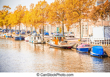 Canal in Amsterdam during the autum