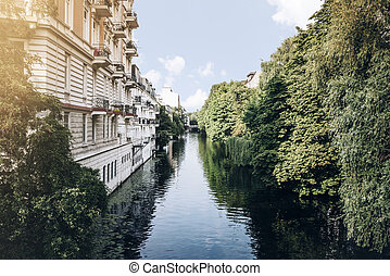 canal in Hamburg, Germany on sunny summer day