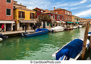 View of canal in Murano Island, Veneto, Italy.