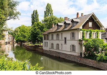 Canal in Petite France area, Strasbourg, France - Water...