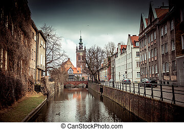 canal in the old town of Gdansk, Poland