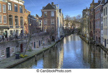 Canal in Utrecht, Holland - Canal with historical houses in...