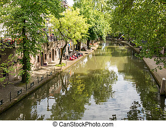Canal in Utrecht, Holland - Oudegracht canal in Utrecht, the...