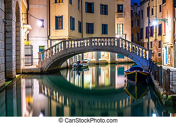 Canal in Venice at night, Italy