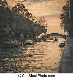 Canal in Venice at sunset.