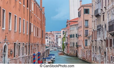Canal in Venice timelapse. Channel, bridges, historical, old...