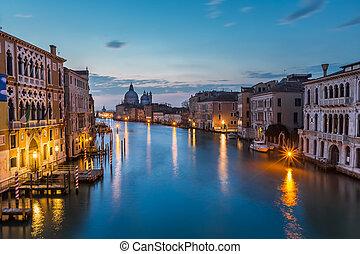 canal, italia, venecia, magnífico, accademia, vista, saludo, santa, iglesia, maria, puente, della